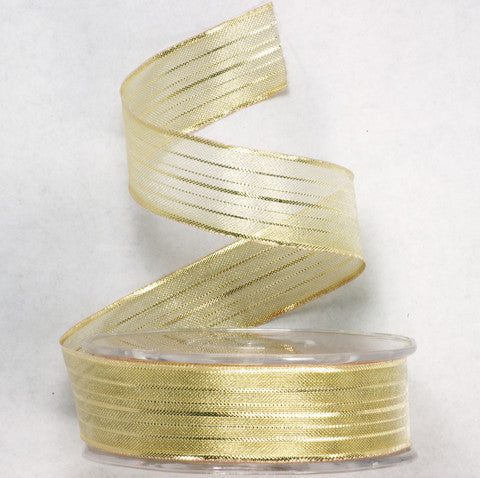 Gold Mesh Wire Ribbon 1'' 25 Yards