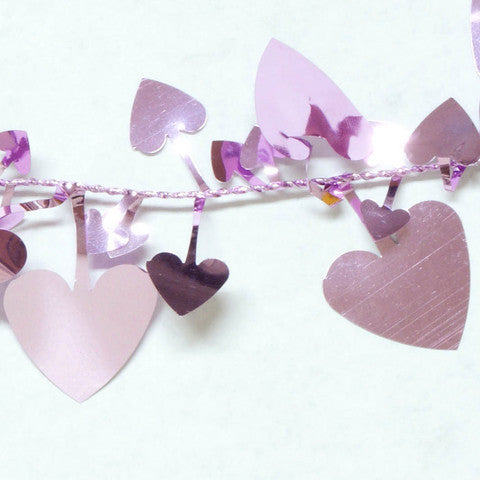 Metallic Lavender Heart Garland 9' 1pcs