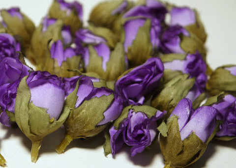 Lavender Poly Silk Rose Bud Heads 120pcs