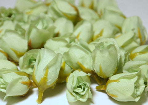 Mint Poly Silk Rose Bud Heads 120pcs