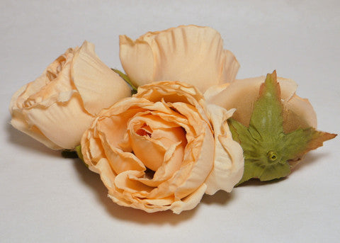 Peach Large Poly Silk Rose Bud Heads 12pcs
