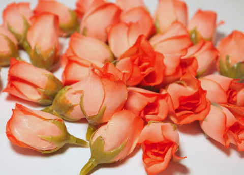 Peach Poly Silk Rose Bud Heads 120pcs