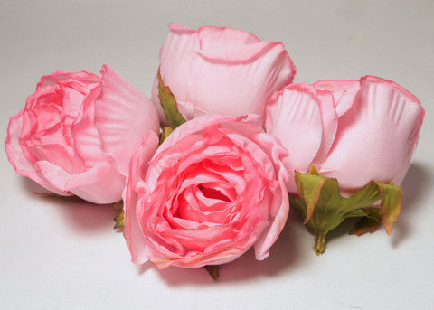 Pink Large Poly Silk Rose Bud Heads 12pcs