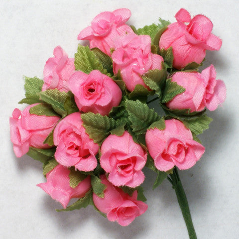 Pink Poly Rose Silk Flowers 0.75'' 144pcs