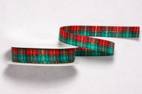 Plaid Christmas Ribbon 5/8'' 25 Yards
