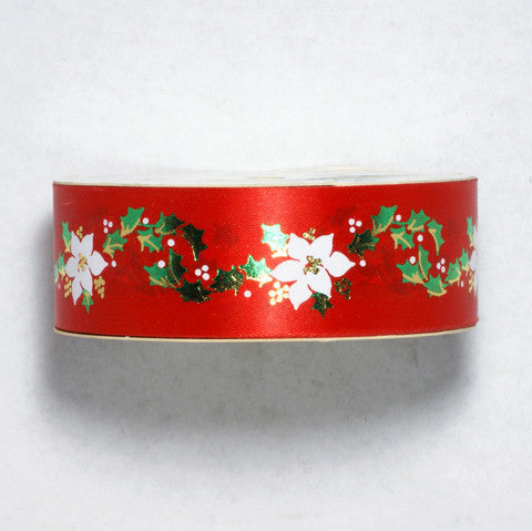 Offray Red Christmas Poinsettia Ribbon 7/16'' 25 Yards