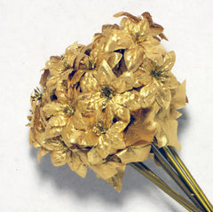 Gold Poinsettia Mini Silk Flowers 1.5''