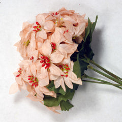Light Peach Poinsettia Silk Flowers 2''
