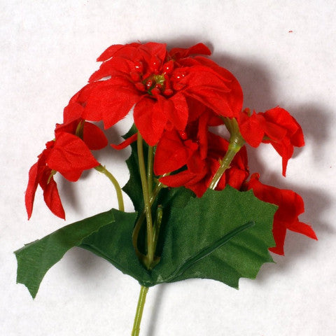 Red Poinsettia Silk Flowers 2''
