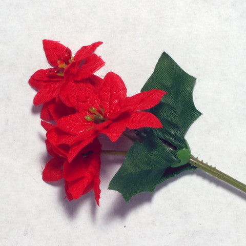 Red Poinsettia Mini Silk Flowers 1.5''