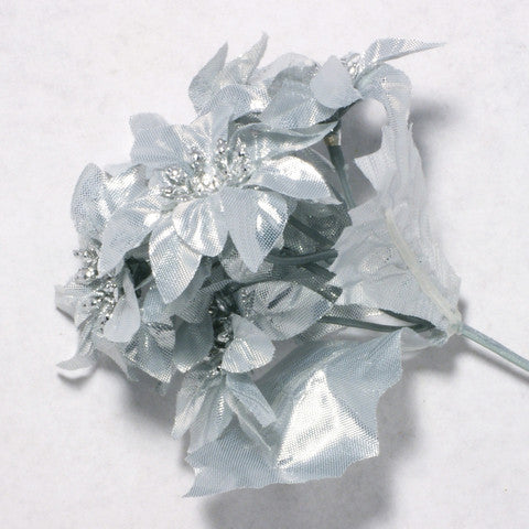Silver Poinsettia Silk Flowers 2''