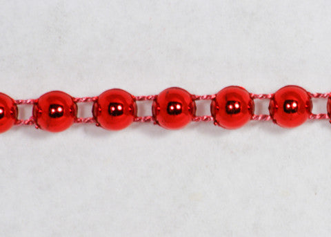 Red Fused Pearl String Half Beads 6mm 36 Yards