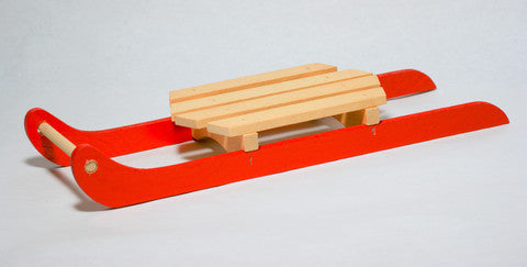 Large Red Wooden Sled Decoration 2pcs