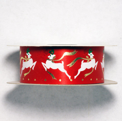 Offray Red Christmas Reindeer Ribbon 7/16'' 25 Yards