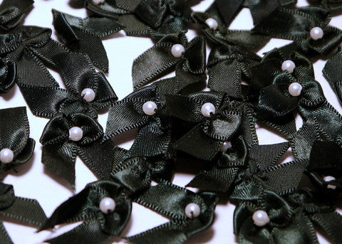 Miniature Black Satin Ribbon Bows with Bead 1'' 144pcs