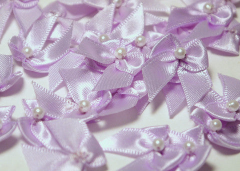 Miniature Lavender Satin Ribbon Bows with Bead 1'' 144pcs