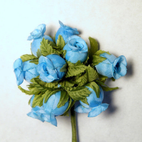 Sky Blue Poly Rose Silk Flowers 0.75'' 144pcs