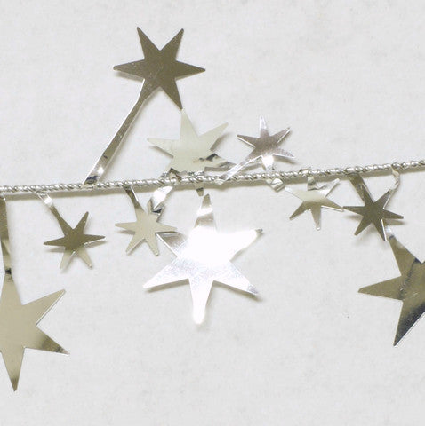 Metallic Silver Star Garland 9' 1pcs