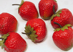 plastic strawberries 2''