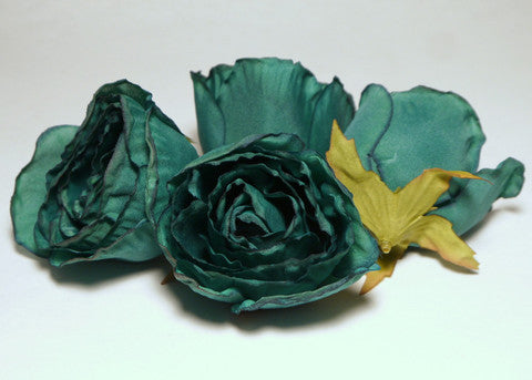 Teal Large Poly Silk Rose Bud Heads 12pcs