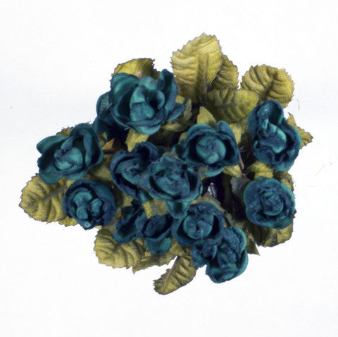Teal Mini Rose Silk Flowers 0.5''