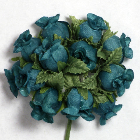 Teal Poly Rose Silk Flowers 0.75'' 144pcs