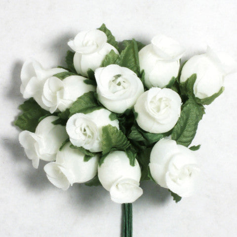 White Poly Rose Silk Flowers 0.75'' 144pcs