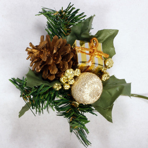 Winter Pick with Gold Pine Cone 6pcs