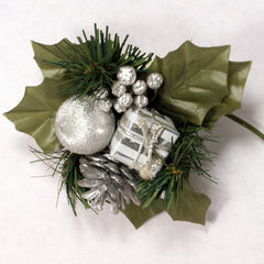 Winter Pick with Silver Pine Cone 6pcs