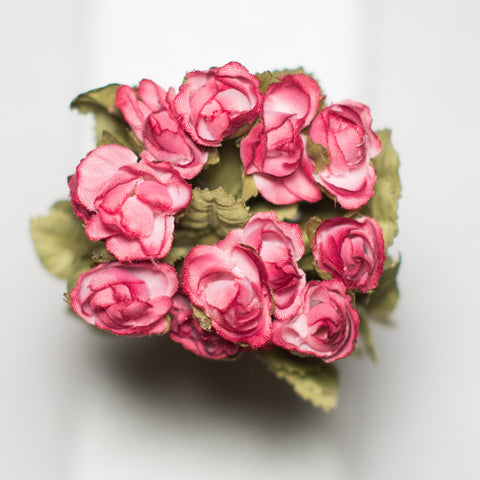 Crimson Mini Rose Silk Flowers 0.5''