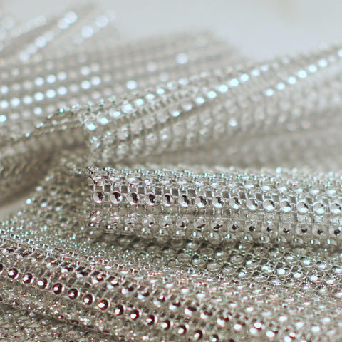 Silver Diamond Rhinestone Ribbon Wrap 4.75'' 10 Yards