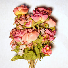 Bouquet Silk Flowers Dusty Rose 1pc