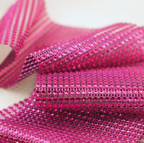 Fuchsia Diamond Rhinestone Ribbon Wrap 4.75'' 10 Yards
