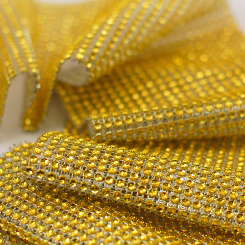 Gold Diamond Rhinestone Ribbon Wrap 4.75'' 10 Yards