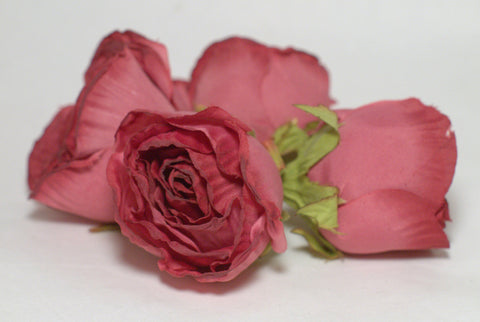 Mauve Large Poly Silk Rose Bud Heads 12pcs