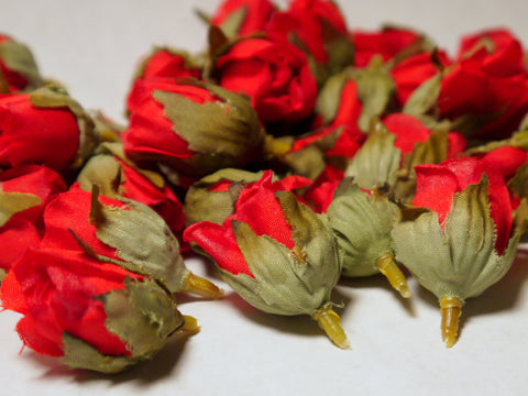 Red Poly Silk Rose Bud Heads 120pcs
