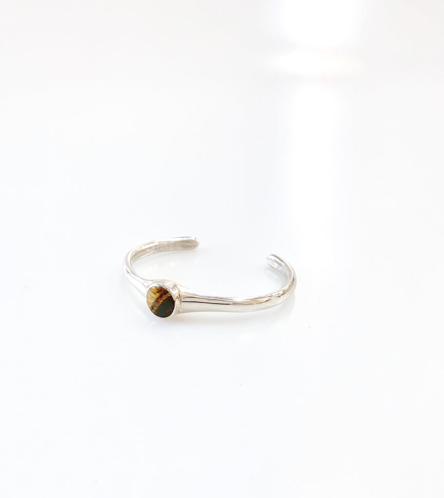 Jacqueline Rose Core Inlay Tigers Eye Silver Cuff