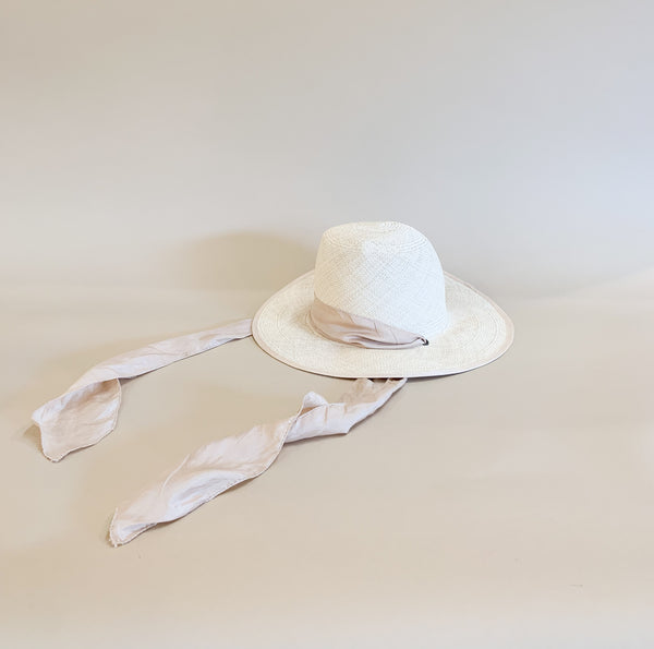 Gobo Hat, Natural Panama Straw with Ribbon
