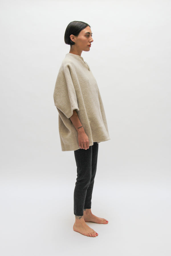 Wool Tweed High Necked Short Coat