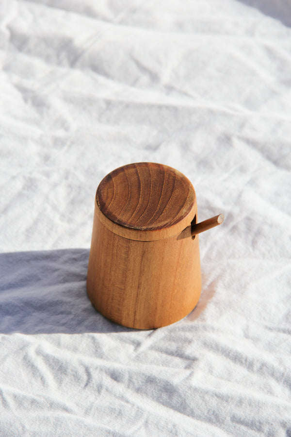 teak round cellar with lid and spoon