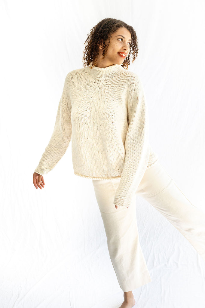 Lauren Manoogian Handknit Yoke Rollneck in Raw White