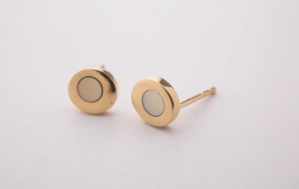 sea stud earrings with inlay