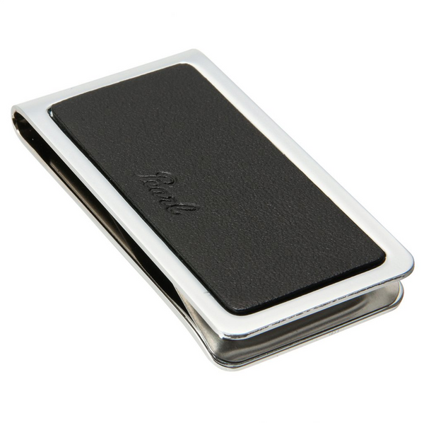 Leather and steel money clip