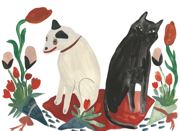 cat and dog with flowers print