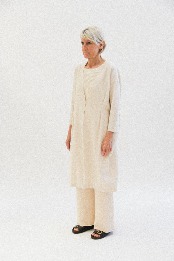 cotton linen drop pocket robe