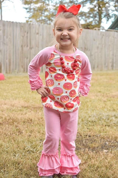 Donut Love Long Sleeve Ruffle Raglan
