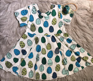 Easter Egg Short Sleeve Twirl Dress (12/18m Only)
