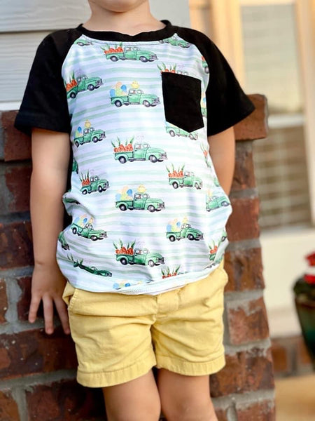 Striped Bunny Truck Short Sleeve Raglan