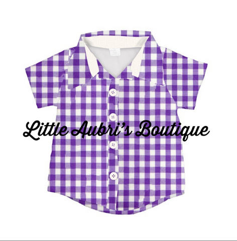 Purple Plaid Button Up Shirt