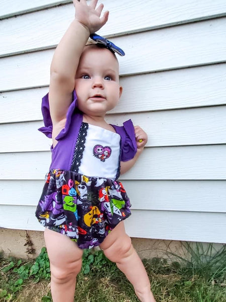 Jack and Sally Lace Bubble Romper